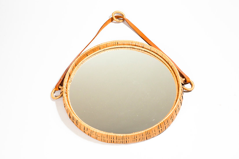 1950s Wall Mirror in Braided Willow Tree by Bengt Ruda for IKEA, Sweden