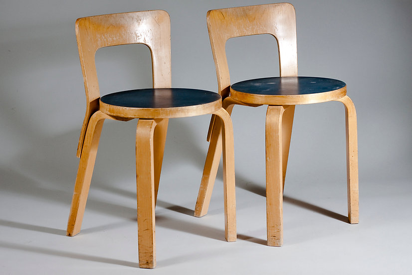 Pair of Alvar Aalto Chair 65 in Blue Linoleum for Artek, Finland