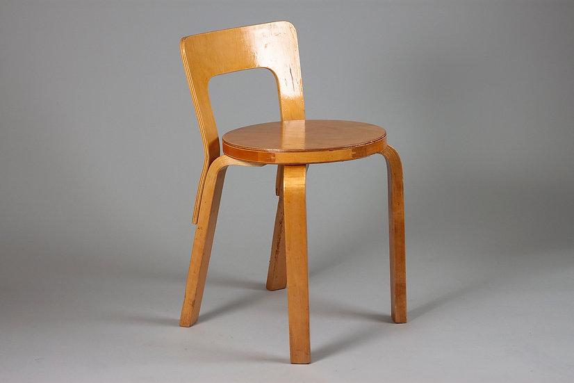 Mid-Century Modern Alvar Aalto Chair 65 in Birch, Artek, Finland