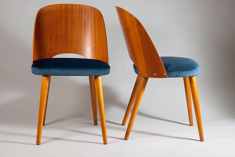 Mid-Century Modern Teak Chairs Upholstered in Blue Velvet