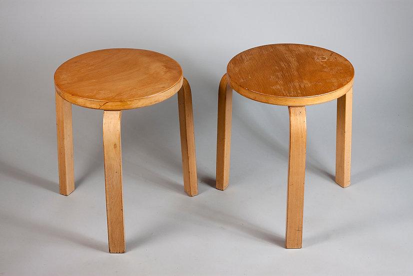 Alvar Aalto, Pair of Honey Patinated 60 Stools