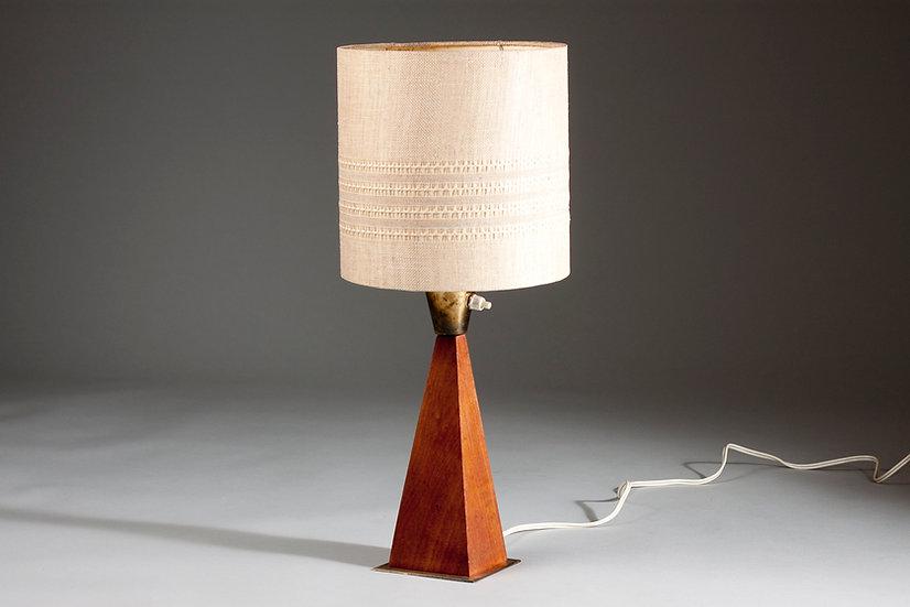 Finnish Mid-Century Modern Teak and Brass Desk Light by G. Holman