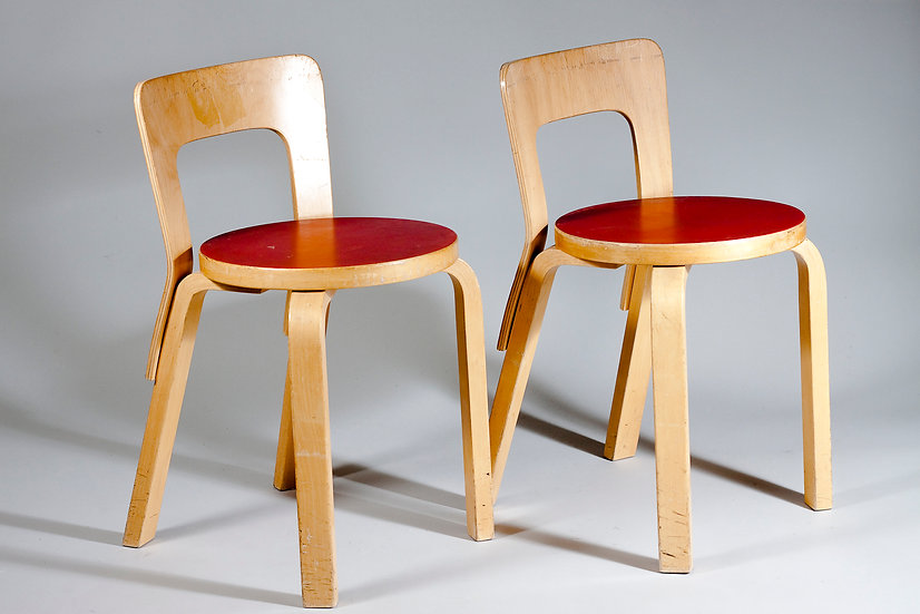 Pair of Alvar Aalto Chair 65 in Red Linoleum for Artek, Finland