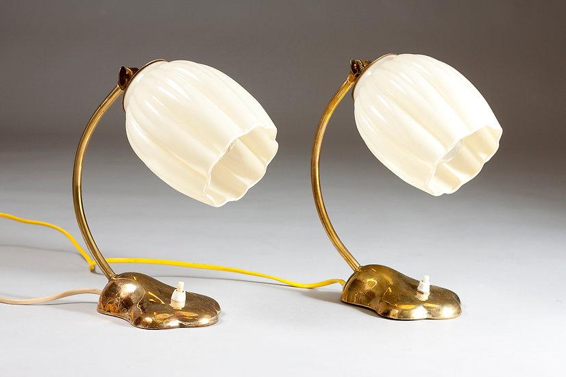 Pair of Decorative Finnish 1950s Valinte Brass Desk/Wall Lamps