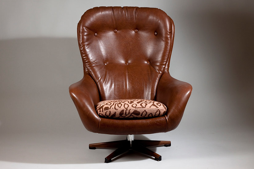 1960s Brown Swivel Chair by Swedfurn, Sweden