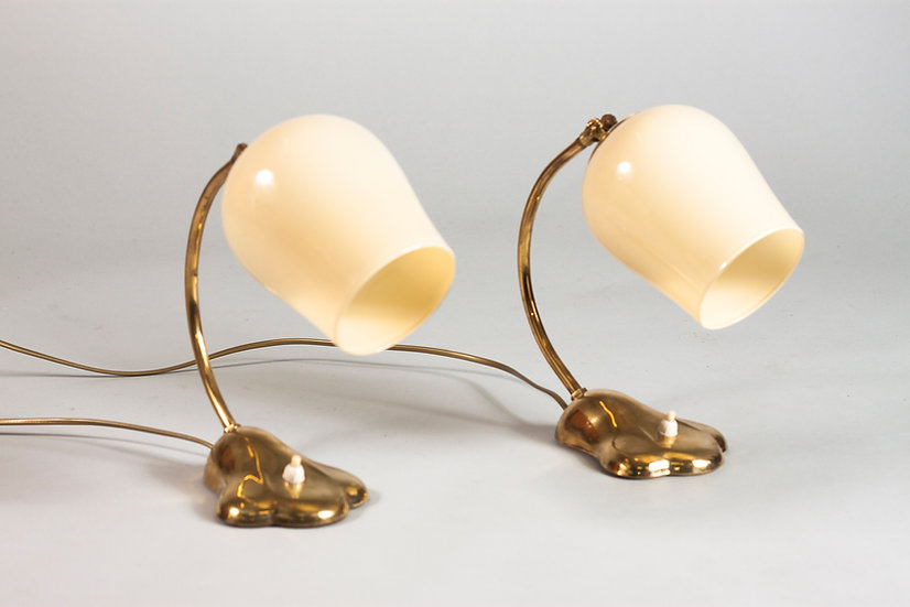 Set of Two 1950s Brass Desk/Wall Lamps by Valinte, Finland