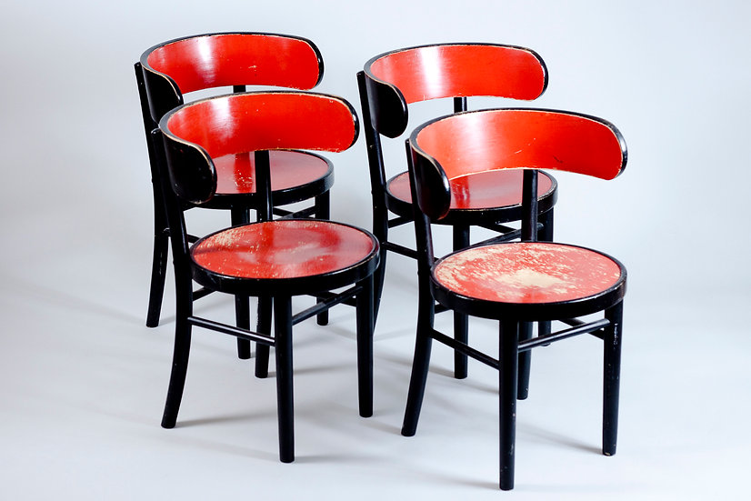 Set of 4 Finnish 1930s Hugging Chair by Werner West
