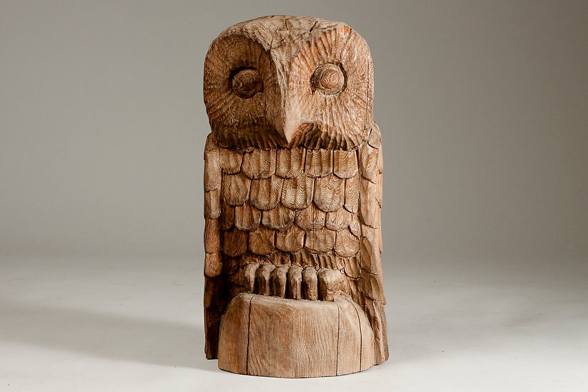Finnish Decorative Mid-Century Hand Carved Wooden Owl
