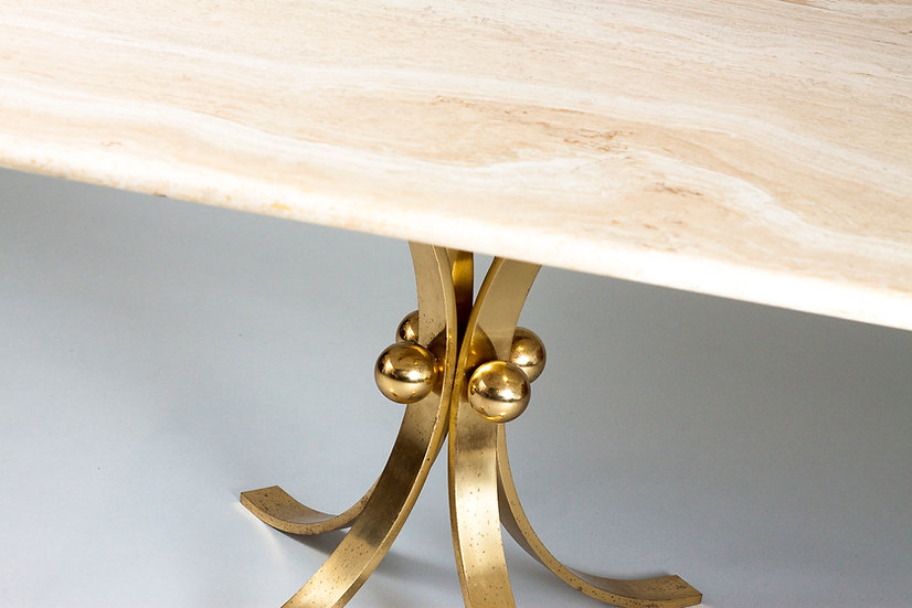 Mid-Century Modern Travertine and Brass  Coffee Table