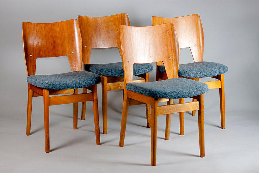 Set of 4 1950s Dining Chairs by Olavi Lieto for ASKO, Finland