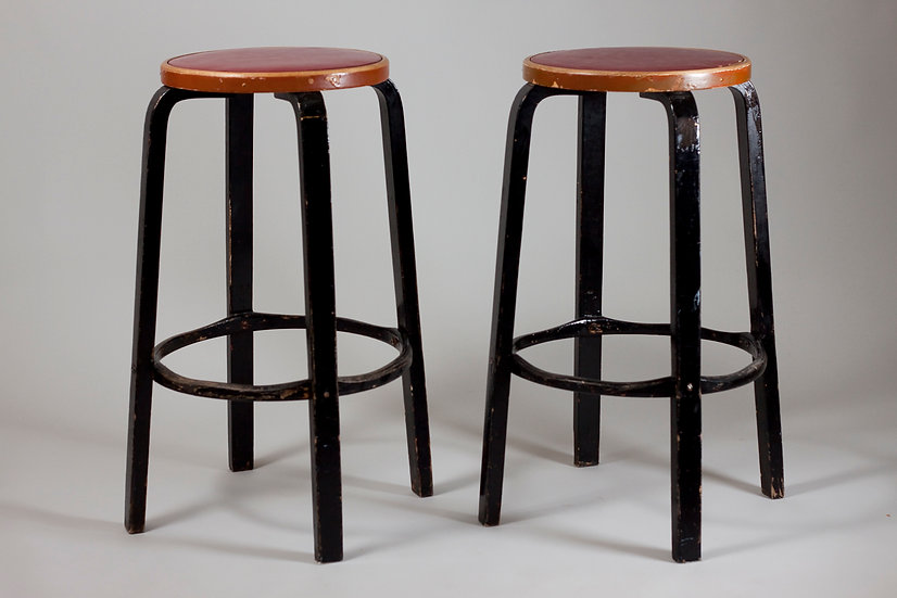 Pair of Early Production Alvar Aalto 64 Stools, Finland