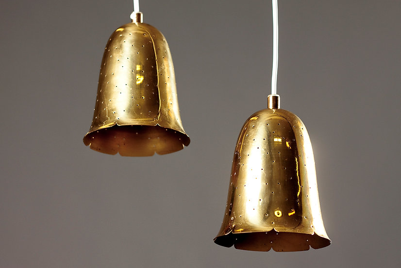Pair of Swedish Modern 1960s Perforated Brass Pendant Lights by Borens