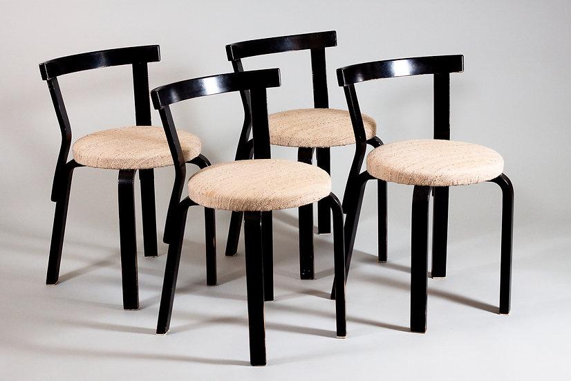 Alvar Aalto, 4 Upholstered 68 Chairs, Mid 20th Century, Artek, Finland