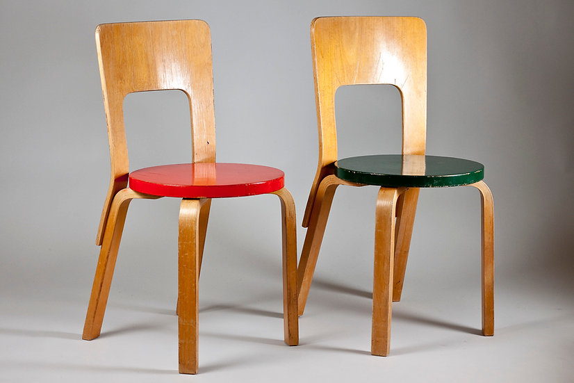 Pair of Early Alvar Aalto Chairs Model 66, Finland