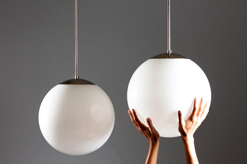 Finnish Mid-Century Opaline Glass Sphere Pendant Lamp