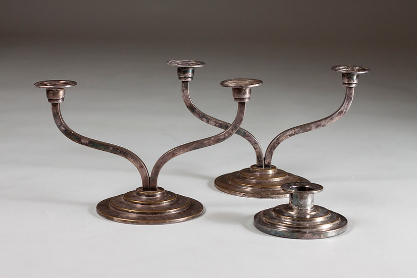 Set of 3 Silver-plated Art Deco Candle Holders by Holger Fridericias, Denmar