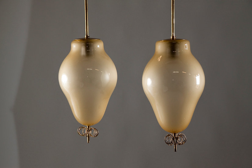 Pair of 1950s Paavo Tynell Rare Opaline Glass Pendants, model 1090 TAITO Oy
