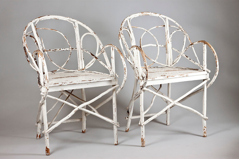 Pair of Antique French Wooden Branch Armchairs