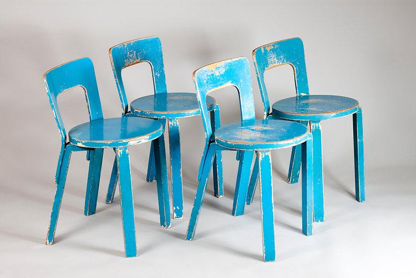 Alvar Aalto, rare 1940s war-leg 65 chairs