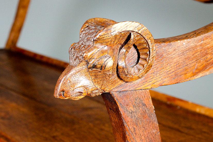 Antique Gothic Oak Pew