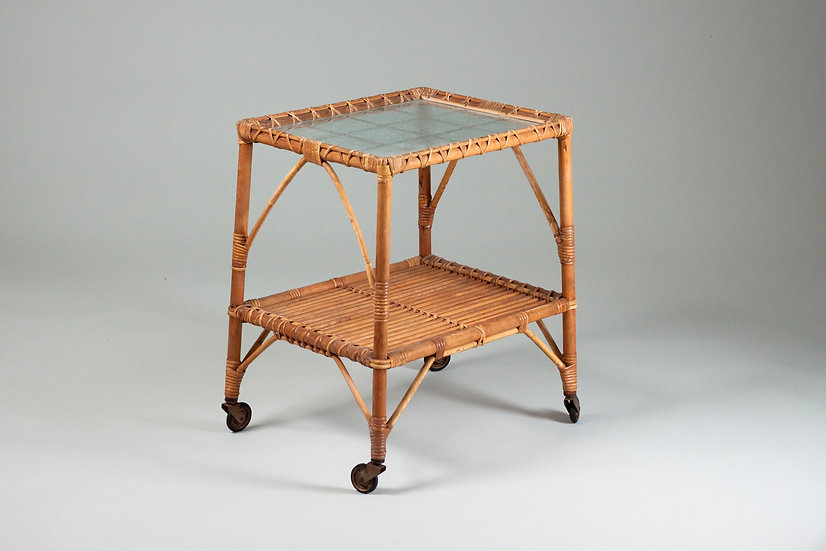 Mid-Century Finnish Rattan Bar Cart and Tray