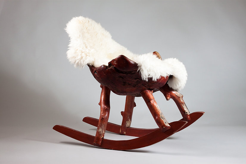 Finnish Unique 1950s Burl Rocking Chair from Lapland