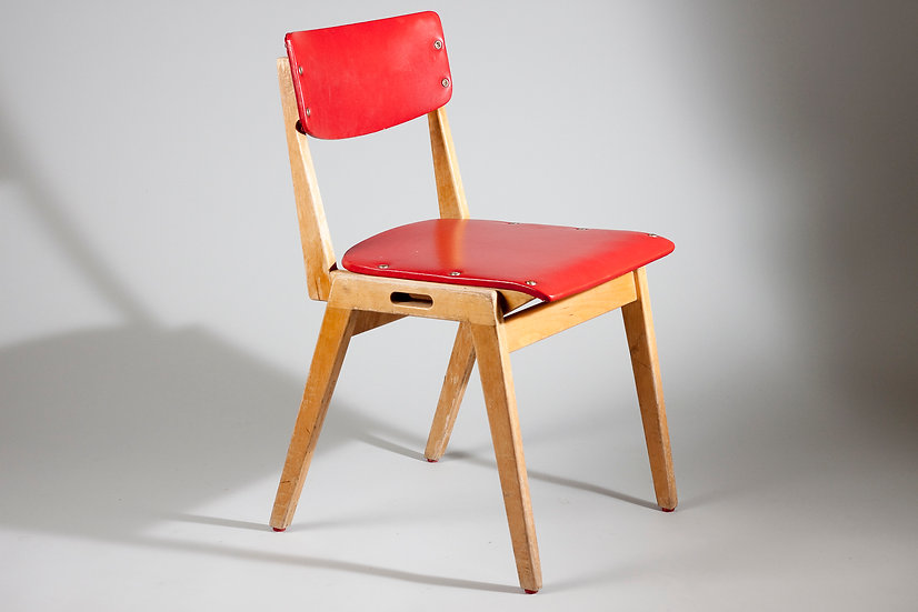 Finnish Mid-Century Modern Chair in Red Letherette