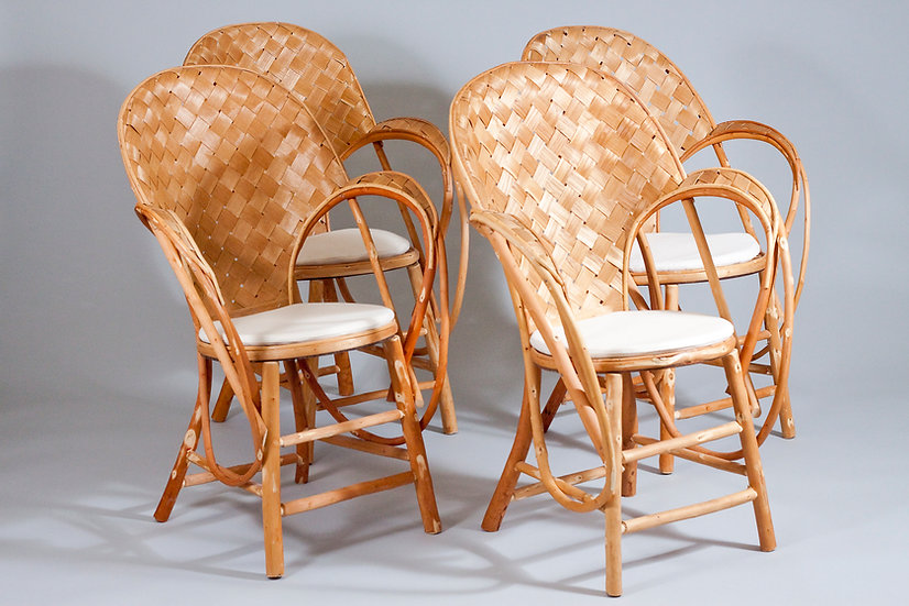 "French ""Le Corbusier"" Chestnut Provence Chairs with white cover by Artek"