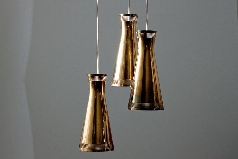 Finnish 1960s Brass Pendant Lamp by Itsu