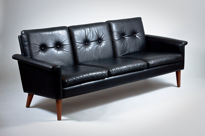 Scandinavian 1960s Black Leather Sofa