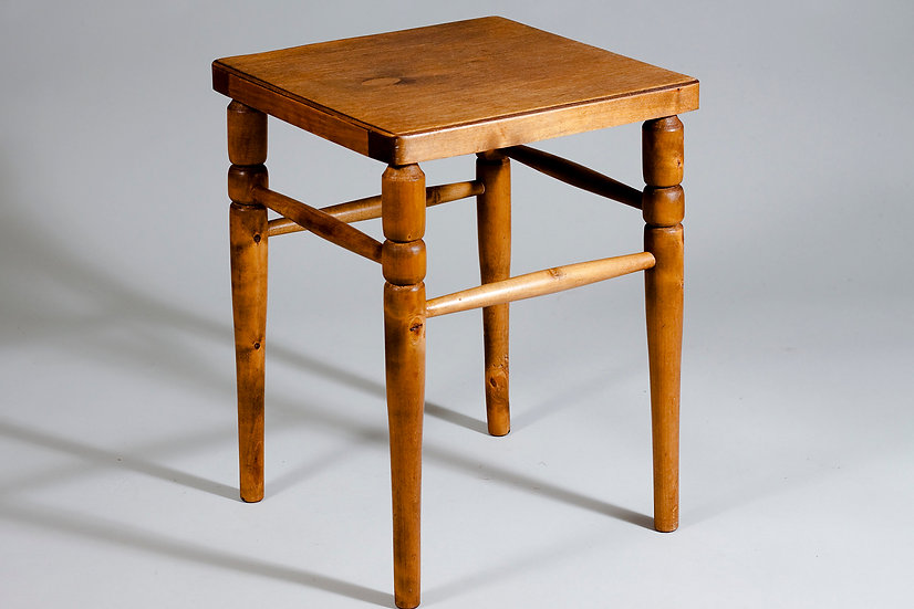 Finnish 1940s Decorative Wooden Stool by ASKO Oy