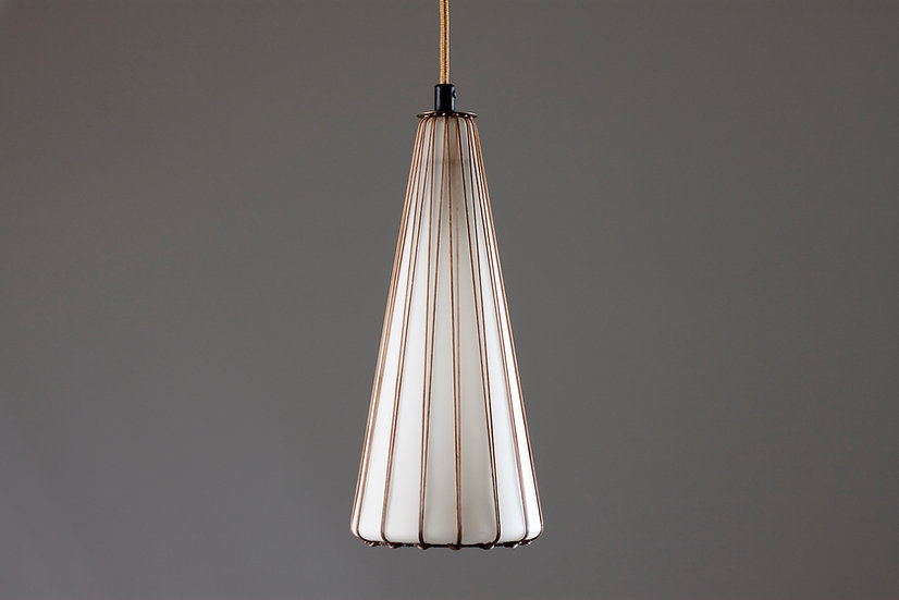 Mid-Century Modern Opaline Glass and Rattan Pendant Light by Idman Oy