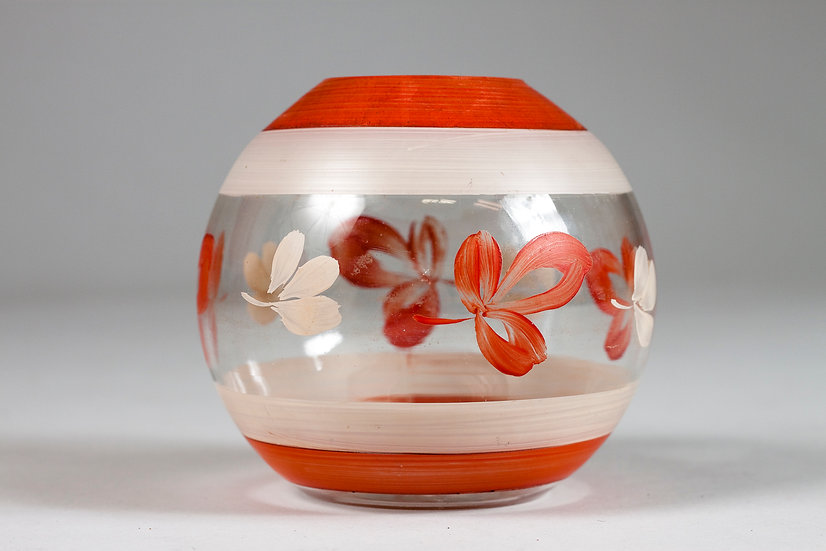 Finnish 1940s Hand Painted Vase, Kauklahti Glass
