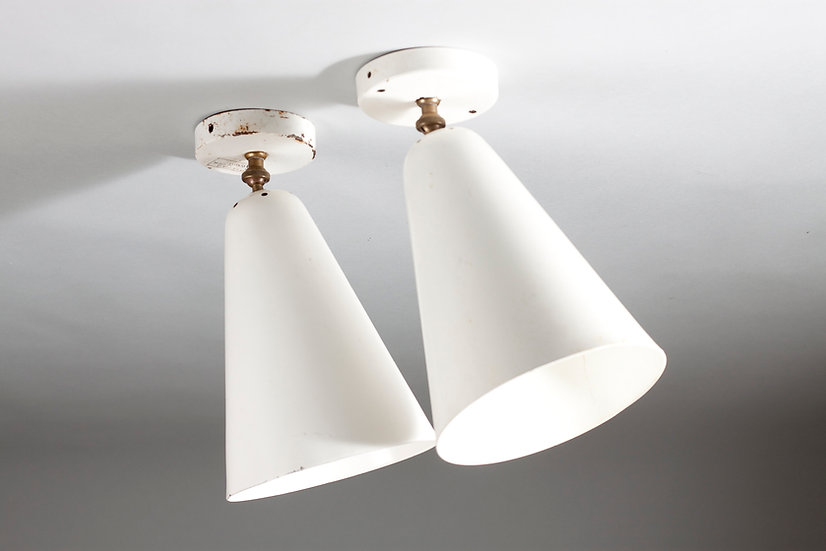 Pair of Paavo Tynell Mid-Century Modern Wall/Ceiling Lights, Idman Oy, Finland