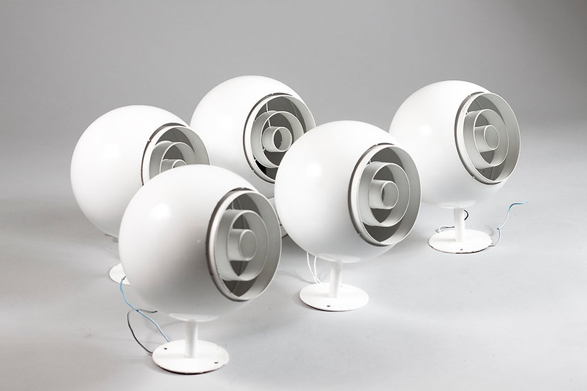 Set of Five Mid-Century Modern Wall / Ceiling Sphere Lights, Finland