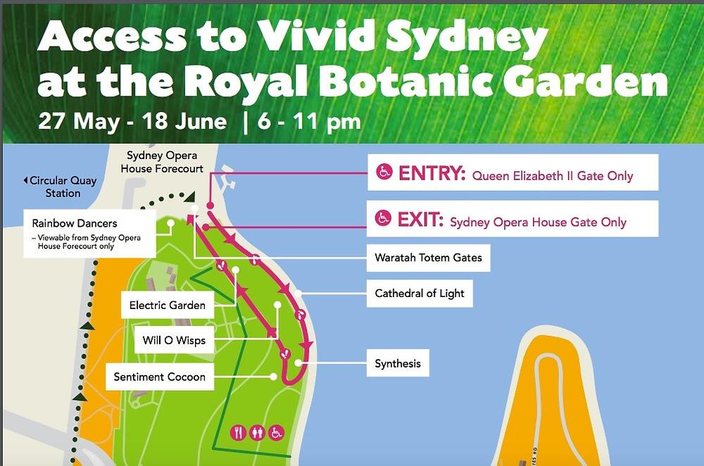 map of Vivid @ Botanic Gardens