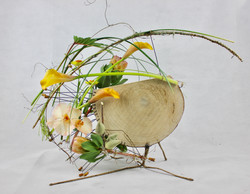 fresh floral design on wood with wir