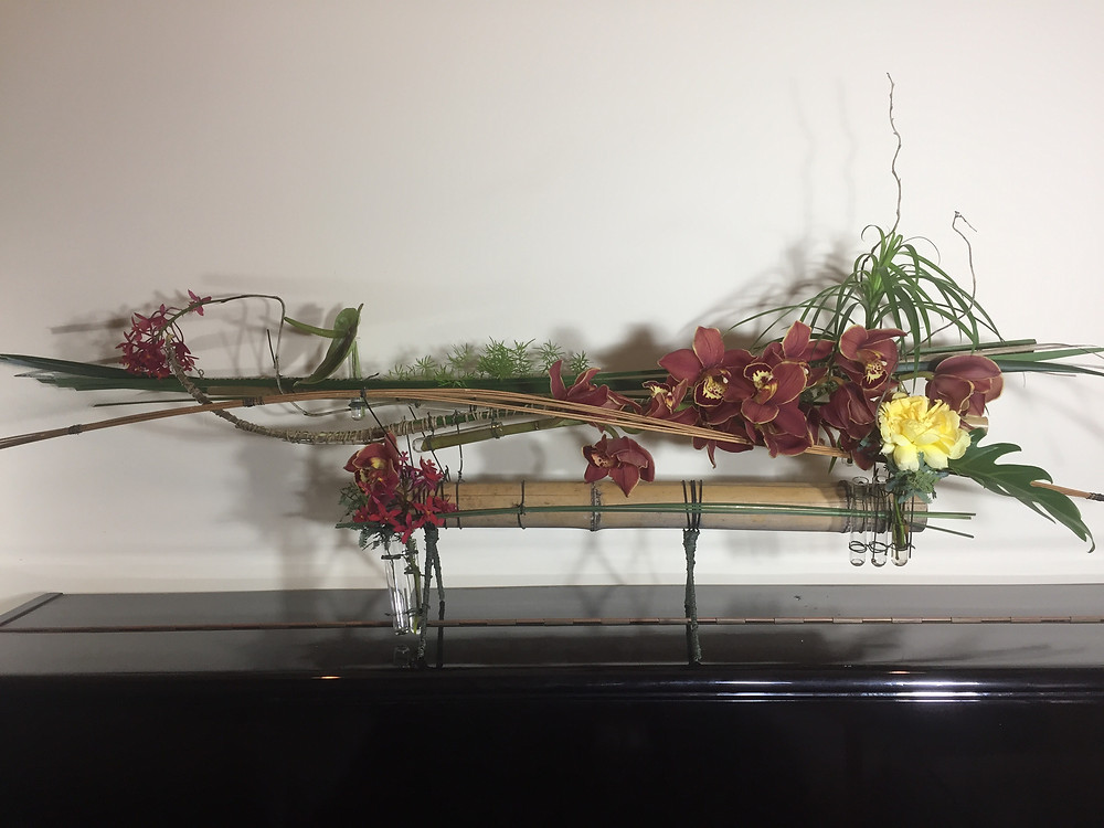 Hand crafted floral design on bamboo structure