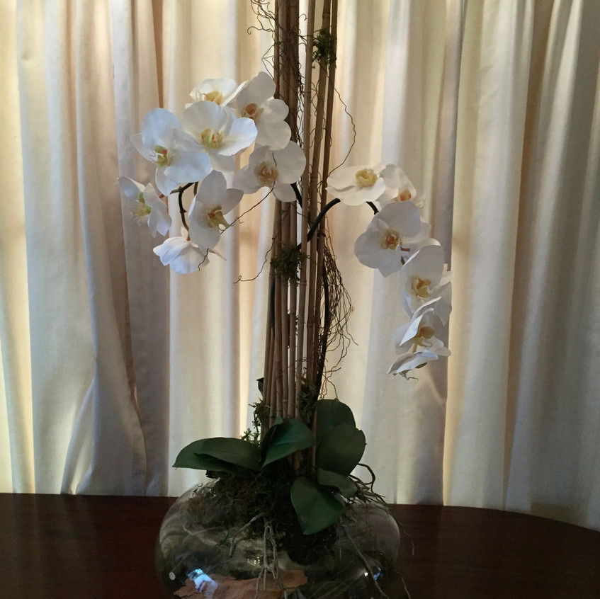 Contemporary floral design of phalaenopsis orchid with tatami feature - faux / artificial orchid