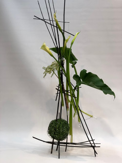 Floral crafting - hand made structure with lilies