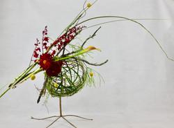 Floral Design with copper mesh frame