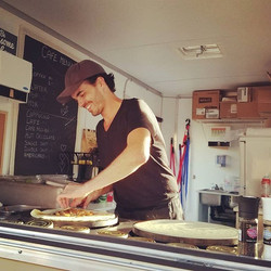 The frenchie at work! ☺💜☺ #delicious #huntsville #crepes #foodtruck #frenchiescrepecafe
