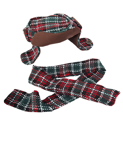 Plaid Flap Hat with Scarf (16-inch)