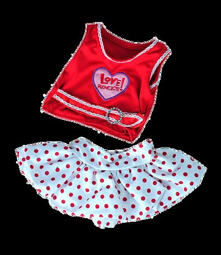 Love Rocks Top with Polka Dot Skirt (16-inch)