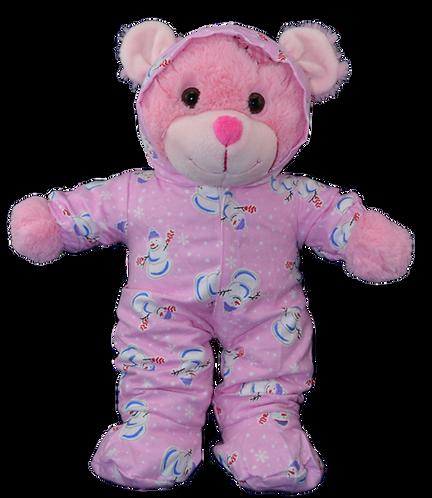 Pink Snowman Hoodie Footies (16-inch)