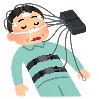 睡眠時無呼吸の検査のイラスト