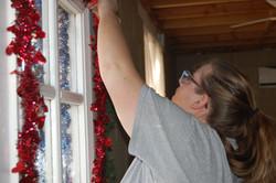 A team member decorating