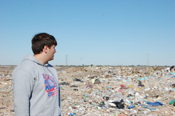 a team member looks out at the dump