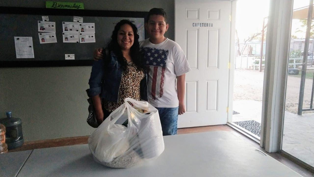 Martín with his mom