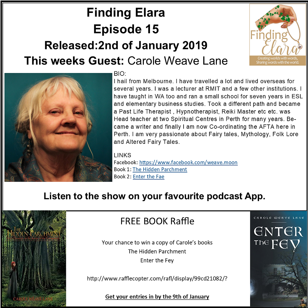 I really enjoyed talking to Carole Weave Lane about her stories the other day so we are going to do another competition with rafflecopter. If any part of you has ever loved fairytales then you will love this episode. http://www.rafflecopter.com/rafl/display/99cd21082/?